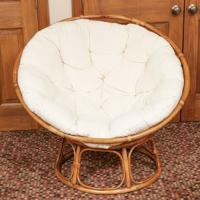 Rattan Papasan Chair with Cushion, Late 20th Century