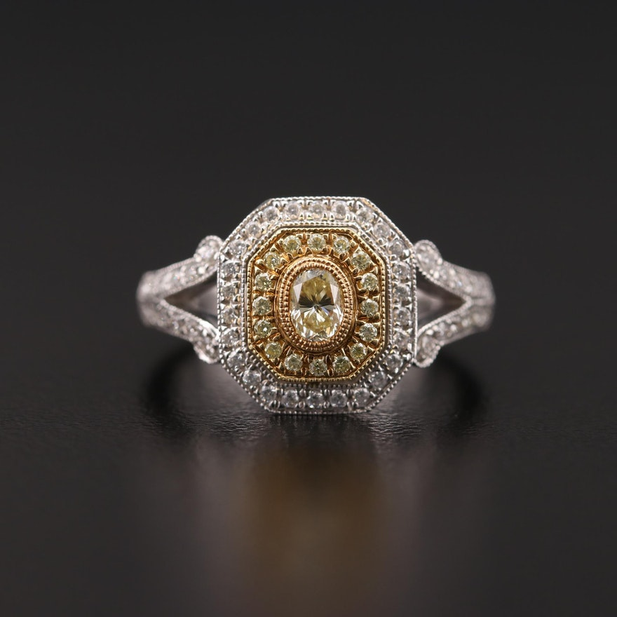 18K White Gold Diamond Ring with Yellow Gold Accents