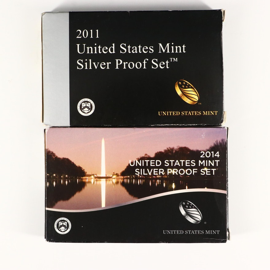 2011 and 2014 U.S. Mint Silver Proof Sets