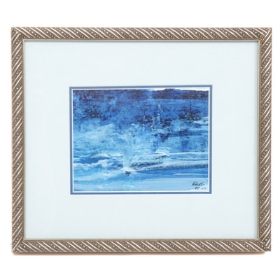 Blue Abstract Oil Painting, Late 20th Century