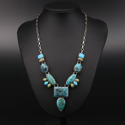 Roie Jaque Navajo Diné Sterling Silver Turquoise Necklace