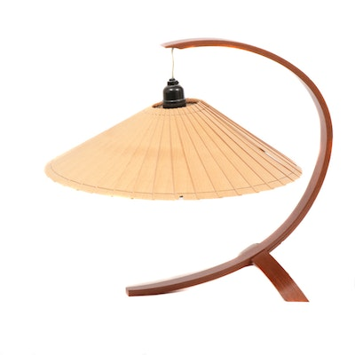 Mahogany Arched Table Lamp with Hanging Shade, Mid-20th Century
