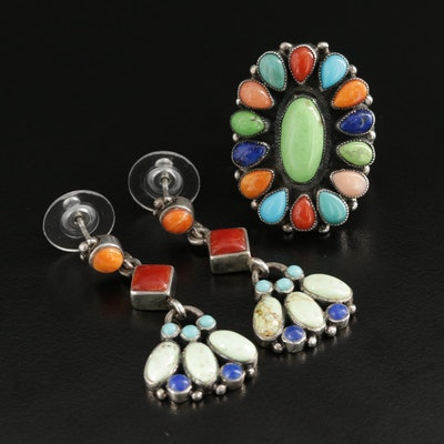Southwestern Sterling Gemstone Jewelry Selection Featuring Leo Feeney Ring