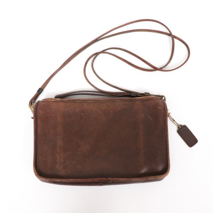 Coach Double Strap Brown Leather Shoulder Bag, Vintage