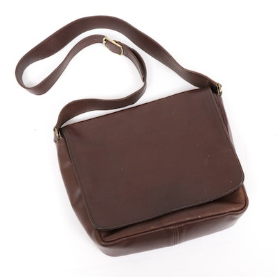 Coach Museum Foldover Flap Brown Leather Messenger Bag, Vintage