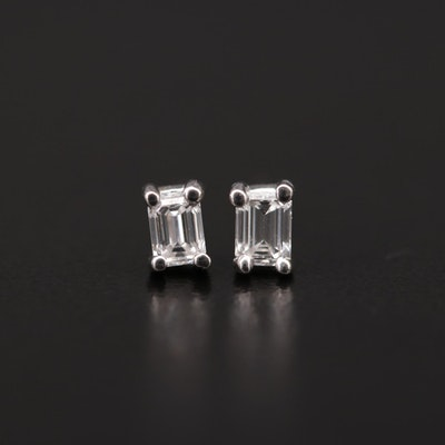 14K White Gold 0.38 CTW Diamond Solitaire Stud Earrings
