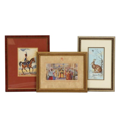 Jacquard-Woven Silk Pictures Including 1953 Commemorative Silk of Elizabeth II