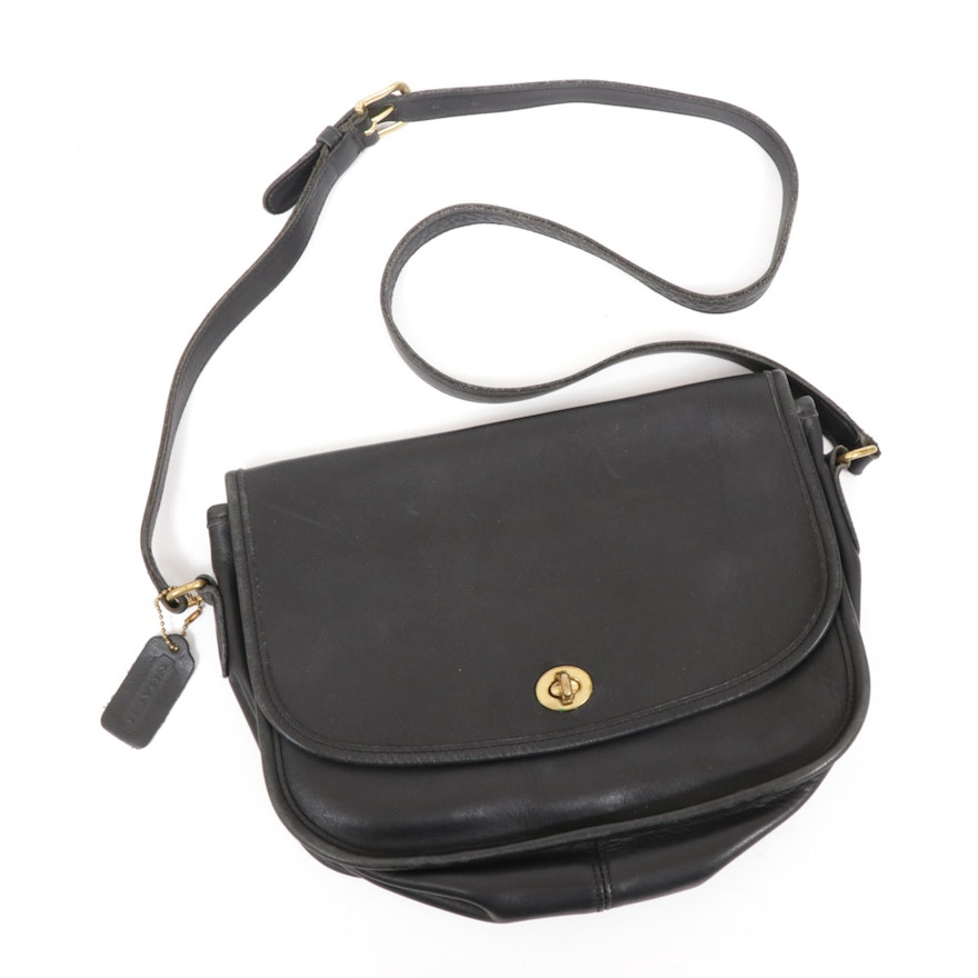 Coach City Foldover Flap Black Leather Crossbody Bag with Turnlock, Vintage