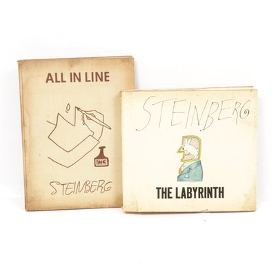 """The Labyrinth"" and ""All In Line"" Books by Saul Steinberg, Mid-20th Century"