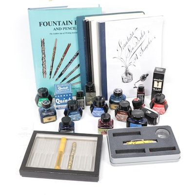 Fountain Pen, Ball Point Pen, Ink, Inkwells and Literature