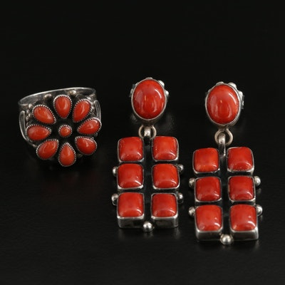 Southwestern Sterling Silver Coral Jewelry Selection Featuring Leo Feeney
