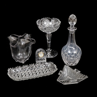 Waterford Crystal Clock, Heisey Jelly Dish with Cut Glass and Crystal Decor