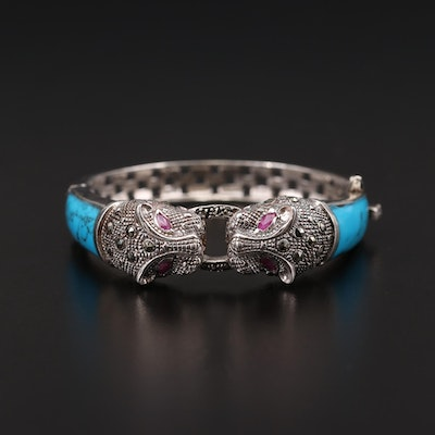 Sterling Silver Ruby, Marcasite and Turquoise Cat Motif Bangle Bracelet