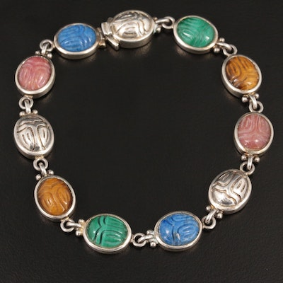 Sterling Silver Assorted Gemstone Scarab Motif Bracelet
