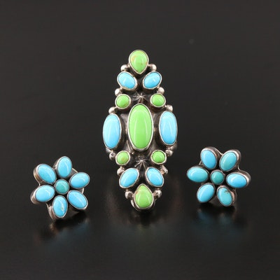 Roie Jaque Navajo Diné Turquoise and Gaspeite Ring and Southwestern Earrings