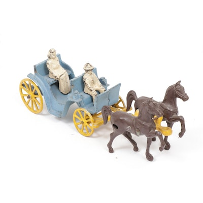 Stanley Toys Cast Iron Horse Drawn Buggy Toy, Mid-20th Century