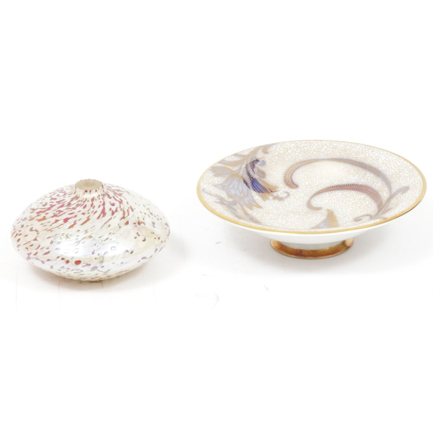 Rosenthal Gold Bird Candy Dish with Glass Eye Studio Oil Lamp