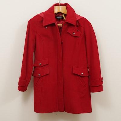 Ellen Tracy Wool Blend Red Hooded Jacket