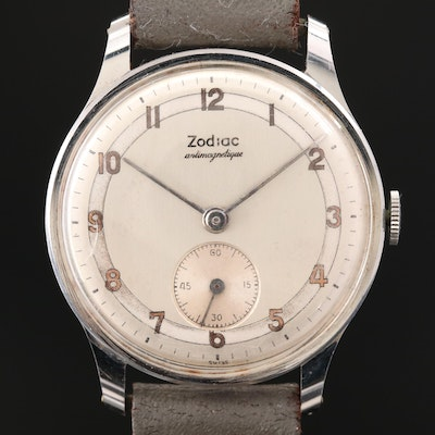 Zodiac Stainless Steel Stem Wind Wristwatch, Vintage