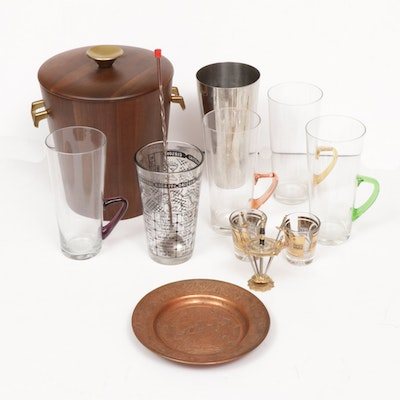 Mid-Century Modern Blown Glassware with Walnut Ice Bucket and Barware