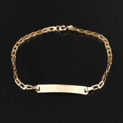 18K Yellow Gold Barleycorn Chain ID Bracelet