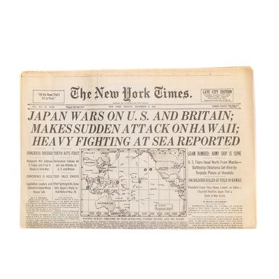 """The New York Times, December 8th 1941 """"Japan Wars on U.S. and Britain"""" Newspaper"""