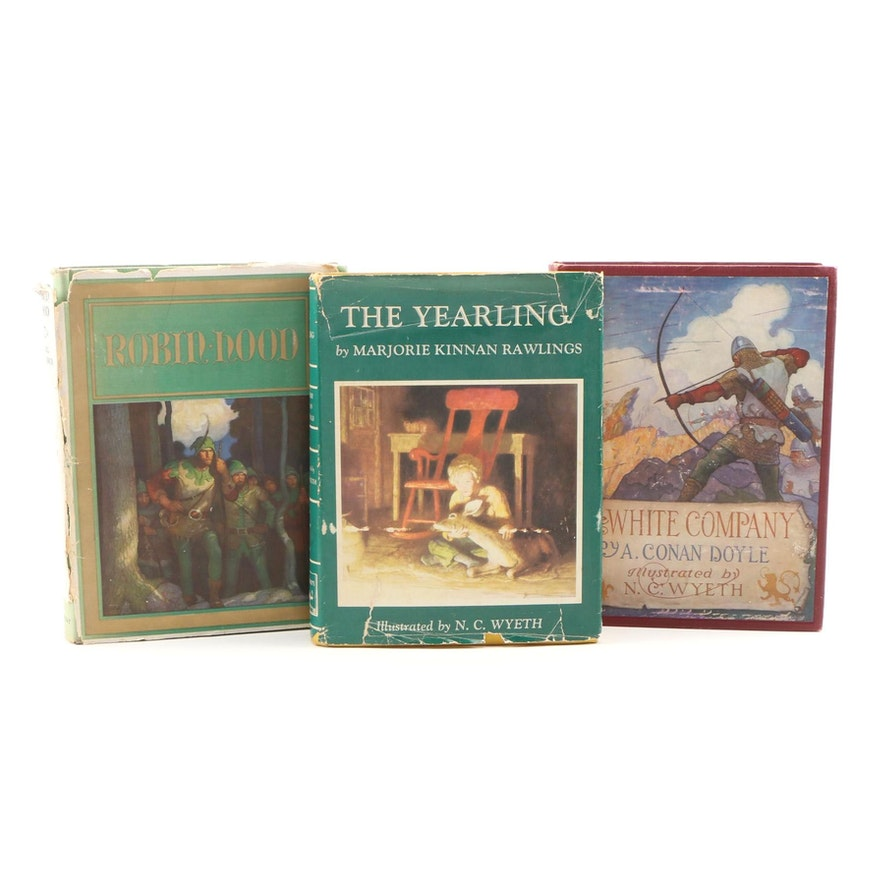 """N. C. Wyeth Illustrated Books including """"Robin Hood"""" and Others"""