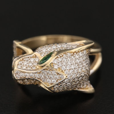14K Yellow Gold Cubic Zirconia Cat Ring