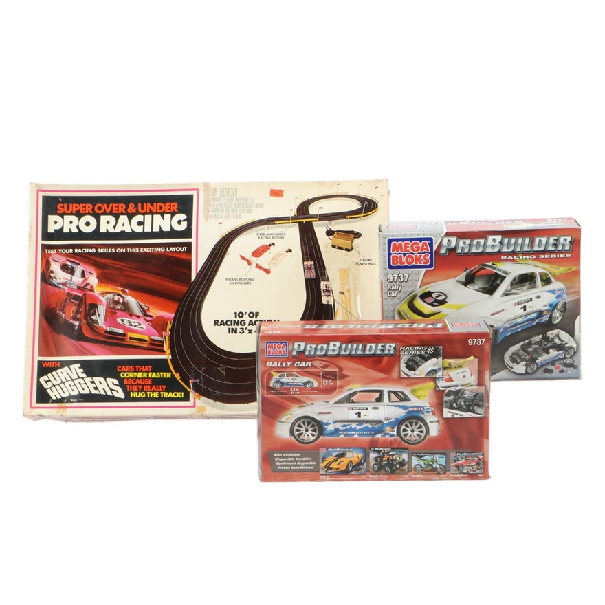 "Tyco Electric Racing Set With Mega Bloks ""Probuilder"" Racing Cars"