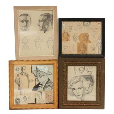 Graphite Portrait and Figure Study Drawings, 20th Century