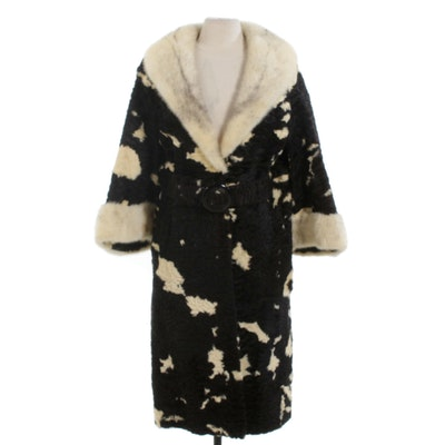 Variegated Persian Lamb and Mink Fur Convertible-Sleeve Belted Coat, Vintage