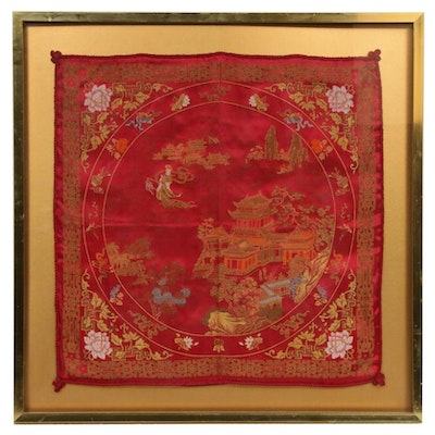 Chinese Woven Silk Damask Cushion Cover Panel