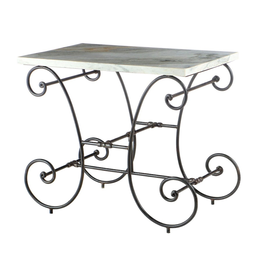 French Style Wrought Iron and Marble Baker's Table, Late 20th Century