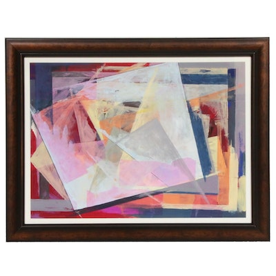"""Steve Bowman Acrylic Painting """"Untitled Large Composition,"""" 1982"""