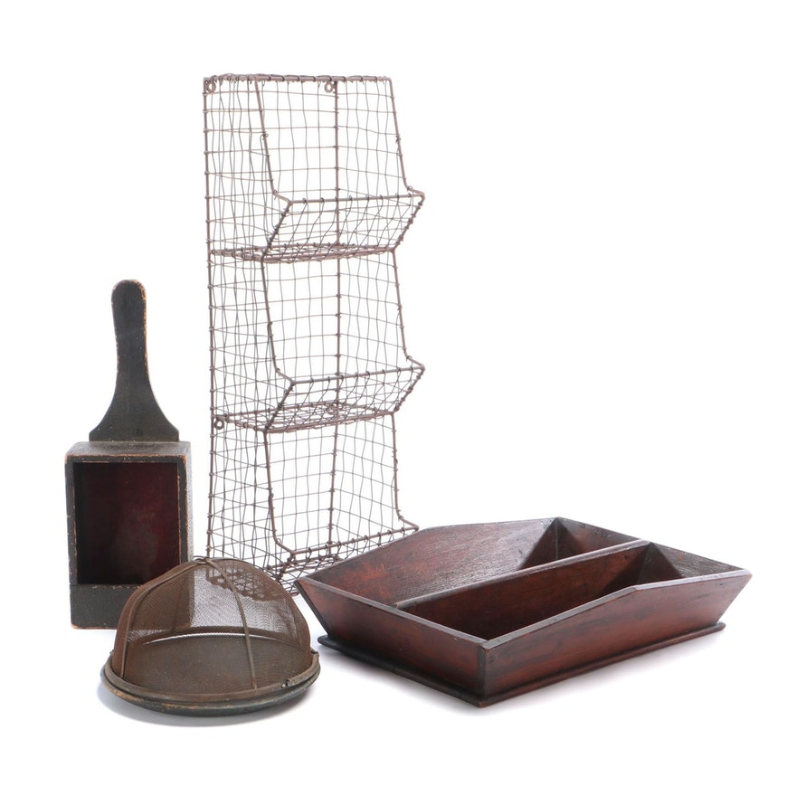 Divided Wire Wall Bin, Wood Divided Tray and Other Décor, Vintage