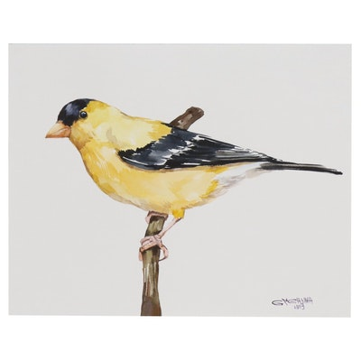 "Ganna Melnychenko Watercolor Painting ""Goldfinch on the Branch"", 2019"