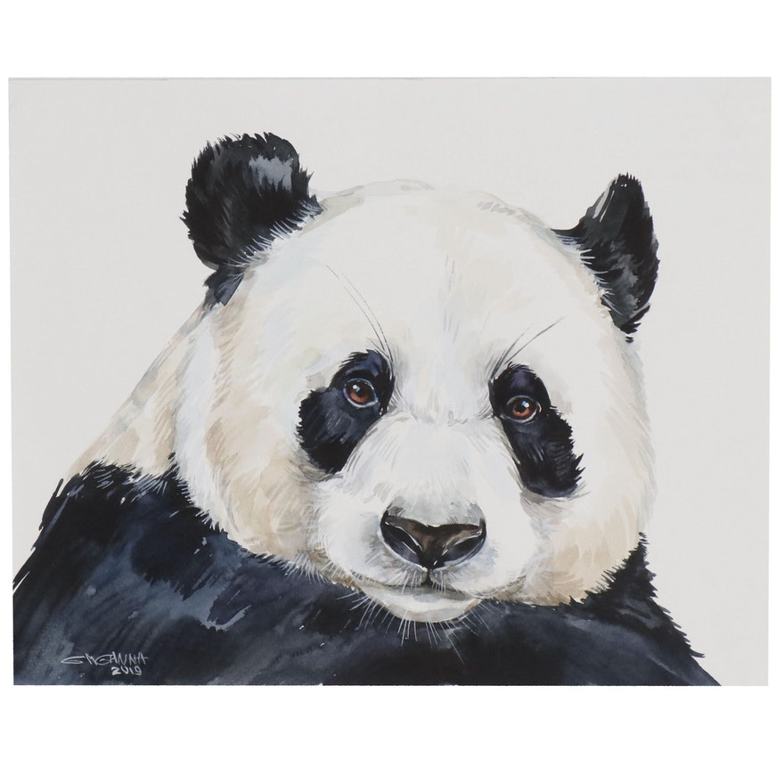 "Ganna Melnychenko Watercolor Painting ""Panda Portrait"", 2019"