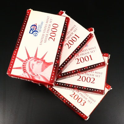 Five U.S. Mint Silver Proof Sets, 2000 to 2003