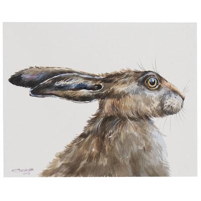 Ganna Melnychenko Watercolor Painting of Hare, 2019
