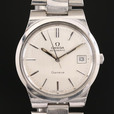 Vintage Omega Geneve Stainless Steel Automatic Wristwatch, 1973