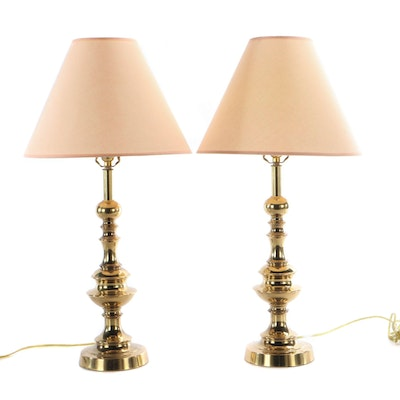 Pair of Brass Baluster Table Lamps with Peach Fabric Shades