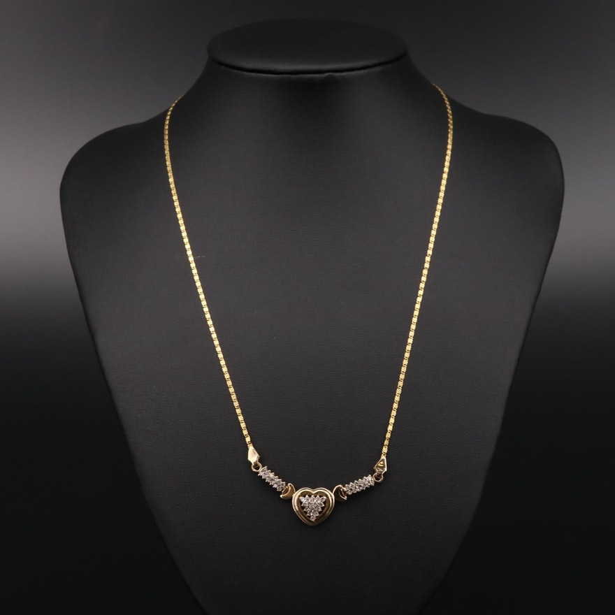 14K and 18K Yellow Gold Diamond Heart Necklace