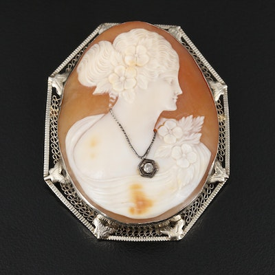 Diamond and Helmet Shell Cameo Habillé Converter Brooch
