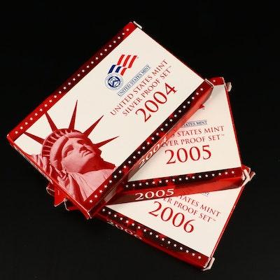 Three U.S. Mint Silver Proof Sets, 2004 to 2006