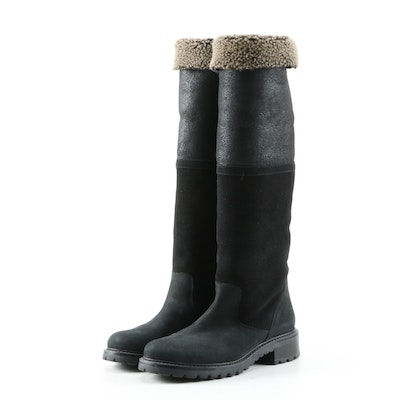 Barneys New York Black Suede and Shearling Boots