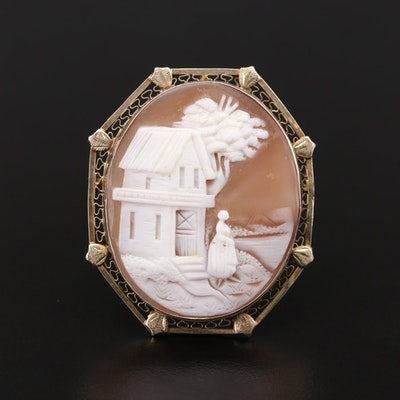 14K Yellow Gold Helmet Shell Carved Cameo Converter Brooch