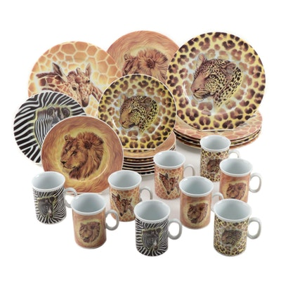 "Email de Limoges Porcelain ""Wild Life"" Dinner Plates, Salad Plates, and Mugs"