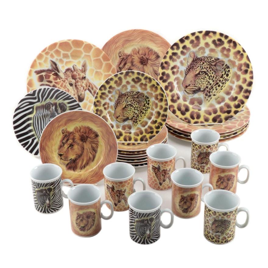 "Email de Limoges Porcelain ""Wild Life"" Dinner Plates, Salad Plates, and Mugs"