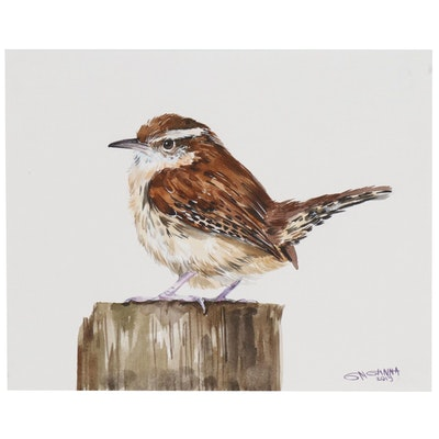 "Ganna Melnychenko Watercolor Painting ""Carolina Wren on the Branch"""