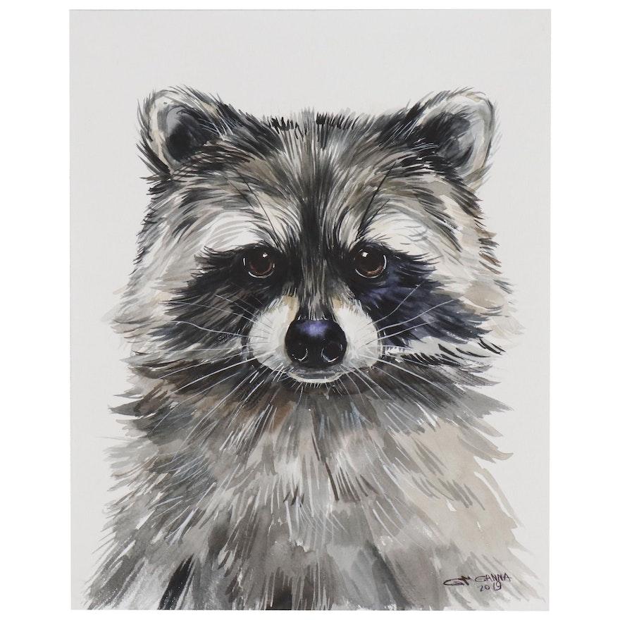 """Ganna Melnychenko Watercolor Painting """"Raccoon Portrait"""""""